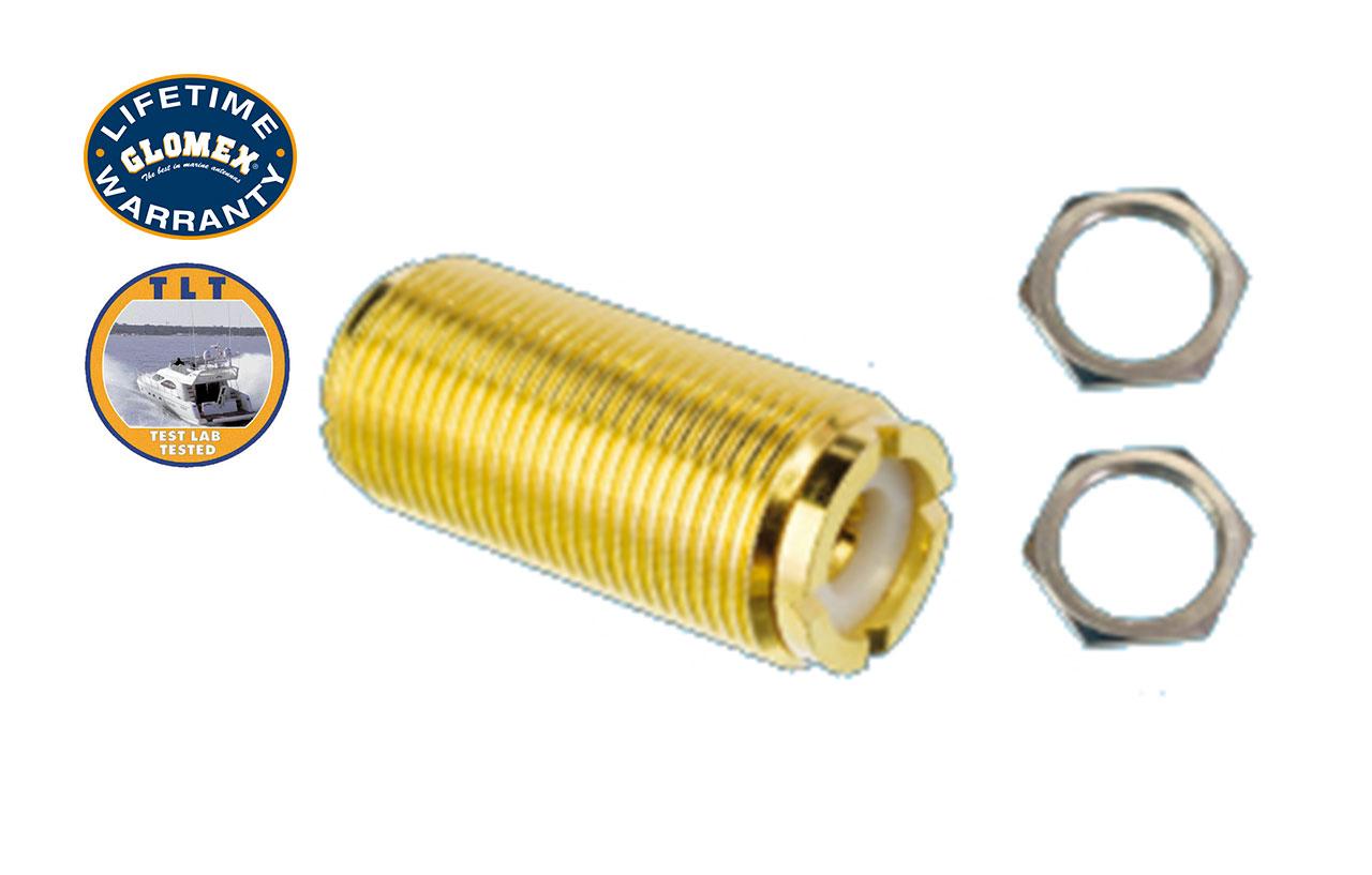 Connectors - RA133GOLDU - GOLD PL-258 BARREL CONNECTOR WITH 2 NUTS
