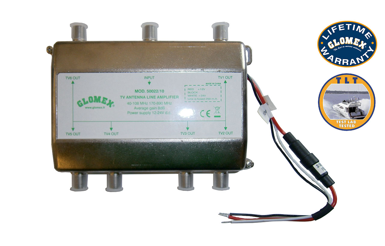 50022/10 - 6 WAY SPLIETTER WITH LINE AMPLIFIER - 12/24VDC